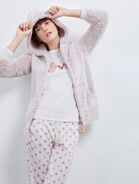 "Pyjama trois pièces ""love"" rose."