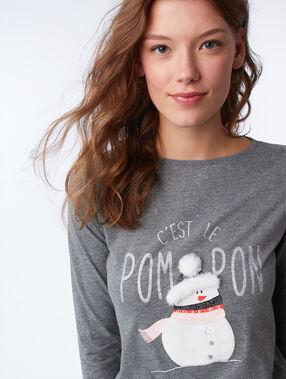 T-shirt à message avec détails fausse fourrure anthracite.