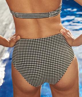 Bas de bikini taille haute noir/blanc.