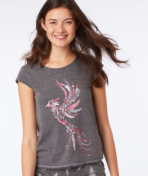 T-shirt imprimé oiseau;${refinementColor}