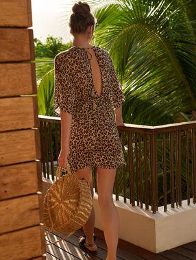 Robe de plage, imprimé léopard multicolore.