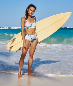 Bas de bikini taille haute multicolore.