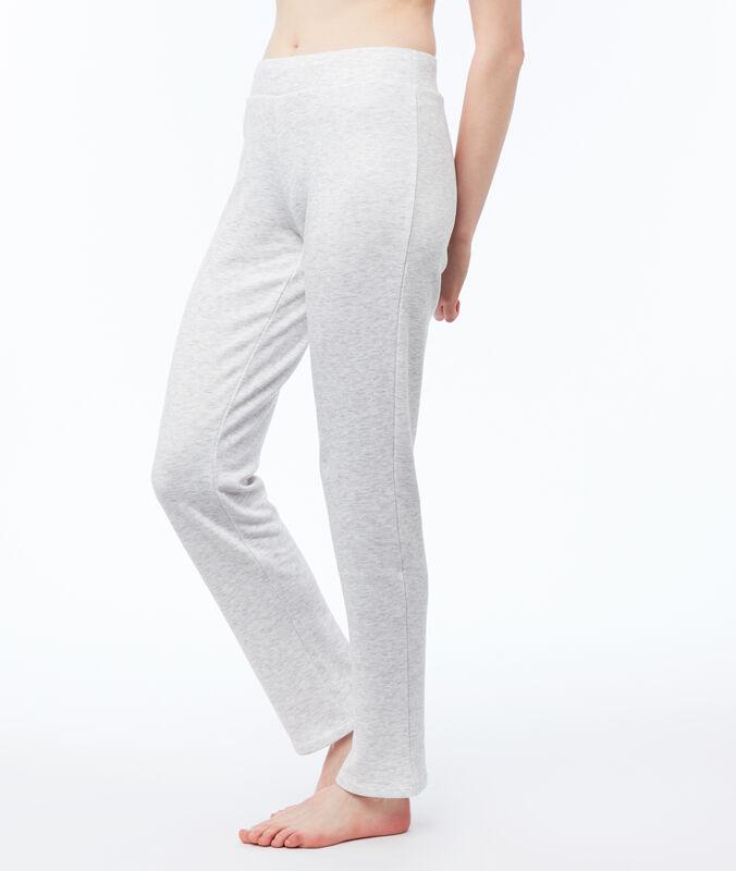 Pantalon homewear chiné gris clair.