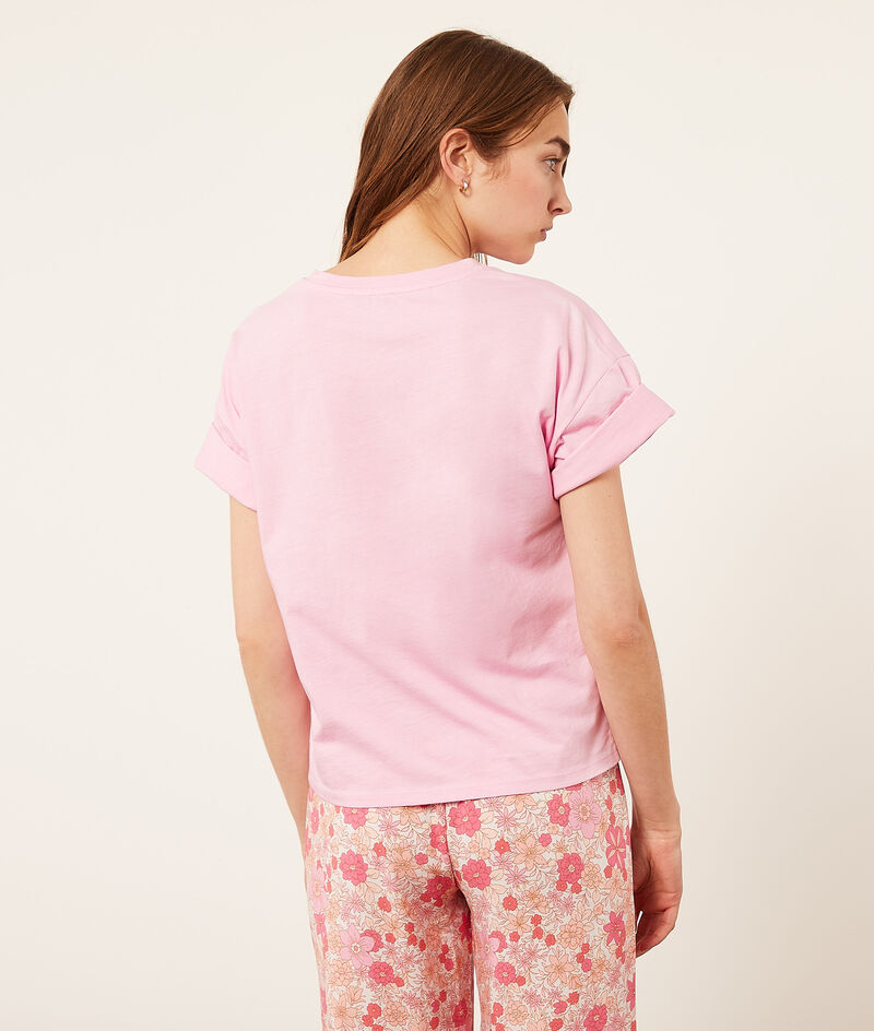 "Top manches courtes ""Pink Club"";${refinementColor}"
