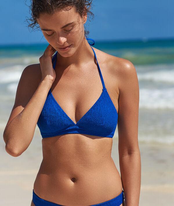 Haut de maillot de bain triangle texturé - ELYNA - 38 - Bleu - Femme - Etam