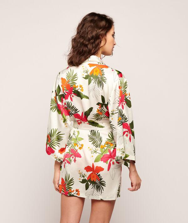 Kimono satiné imprimé tropical;${refinementColor}