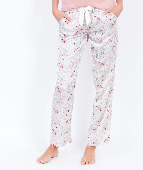 Pantalon à imprimés fleuris, détail noeud
