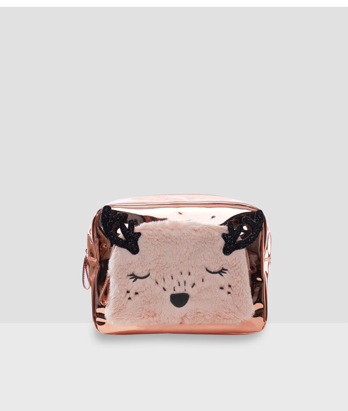 Trousse de toilette animal rose.