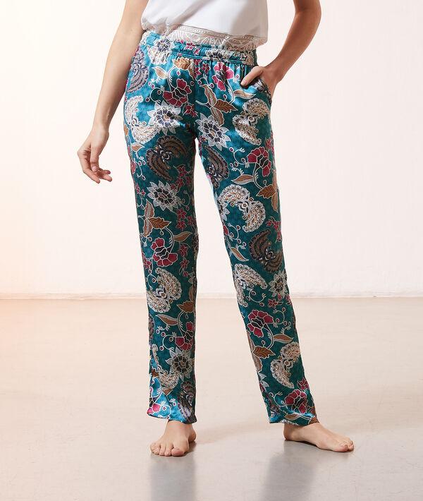 Pantalon de pyjama imprimé et satiné;${refinementColor}