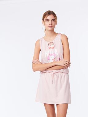"""Chemise de nuit nouée """"hola"""" rose."""