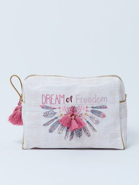 "Trousse double ""dream of freedom"" à pompons ecru."