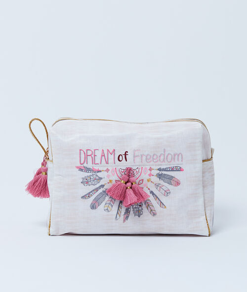 """Trousse double """"Dream of freedom"""" à pompons"""