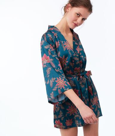 Kimono imprimé bleu vert.
