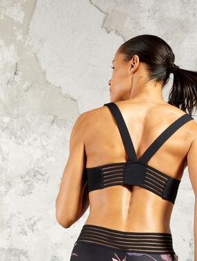 Brassière de sport zippée, dos en v - maintien modéré noir.