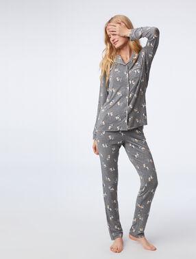 Chemise de pyjama à motifs chat anthracite.