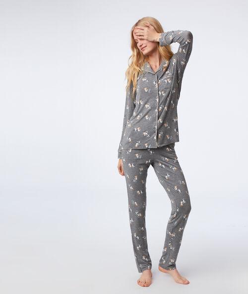 Chemise de pyjama à motifs chat
