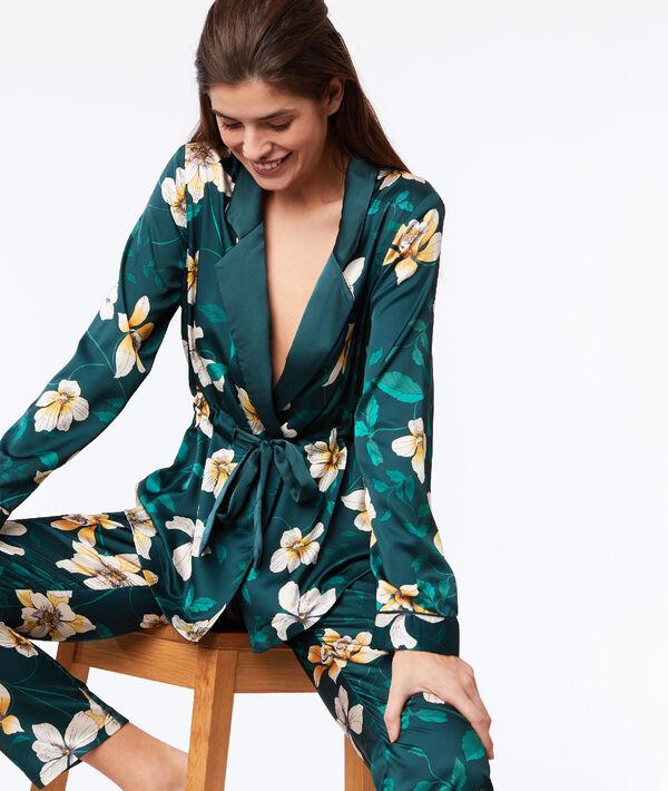 Veste de pyjama satinée imprimé floral