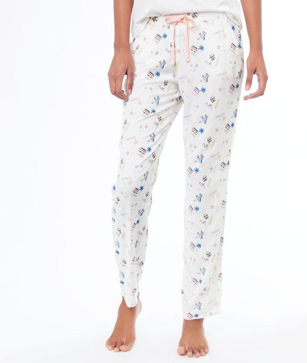 Pantalon imprimé - KITTY - M - Ecru - Femme - Etam