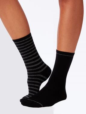 Pack 2 chaussettes fantaisie noir.