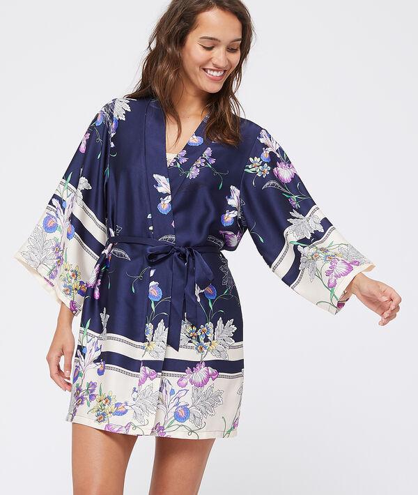 Kimono satiné imprimé fleuri