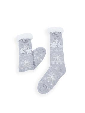 Chaussettes homewear nouées à motifs gris.
