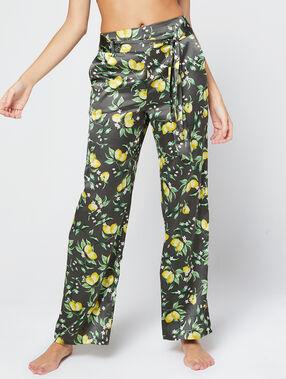 Pantalon large ceinturé en satin imprimé gris fonce.