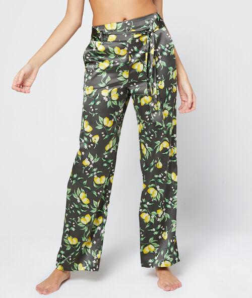 Pantalon large ceinturé en satin imprimé