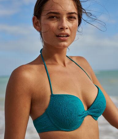 Haut de maillot de bain coques fines bleu canard.