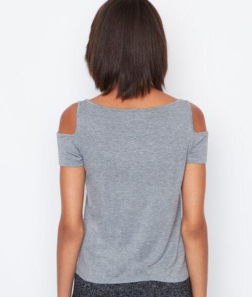 T-shirt épaules dénudées à message