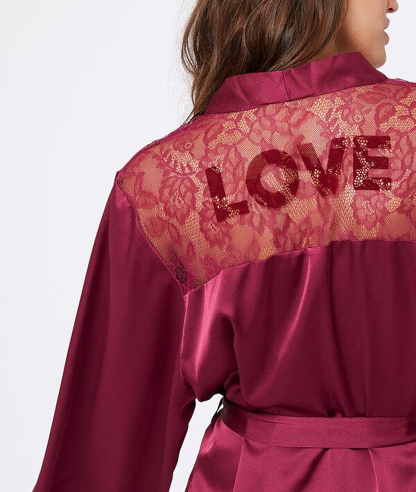 Kimono satiné dos dentelle