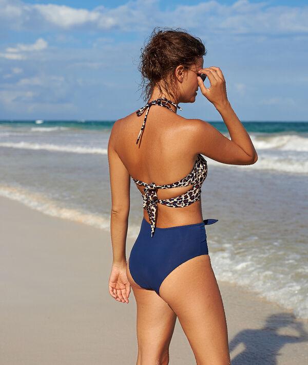 Bas de bikini taille haute, noué sur le devant
