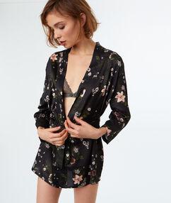 Kimono déshabillé imprimé fleuri noir.