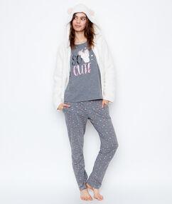 Pyjama 3-pièce imprimé monstre gris/blanc cassé.