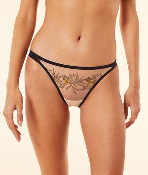 Culotte bikini en tulle brodé;${refinementColor}