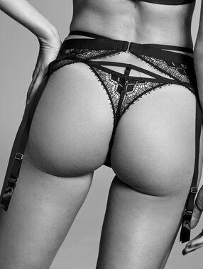Porte-jarretelles en dentelle française noir.