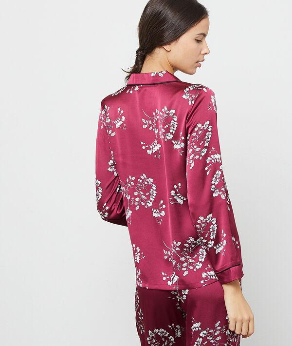 Chemise de pyjama satinée imprimé fleuri
