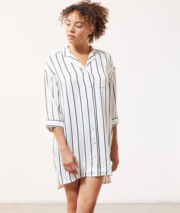 Chemise de nuit à rayures;${refinementColor}