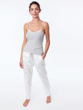 Pantalon de pyjama à carreaux ecru.