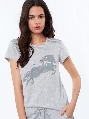 T-shirt imprimé cheval gris.
