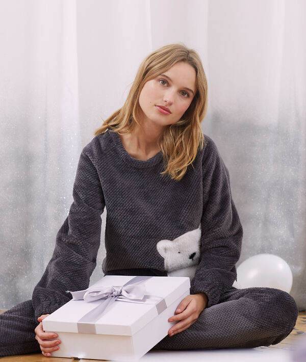 T-shirt polaire manches longues ours;${refinementColor}