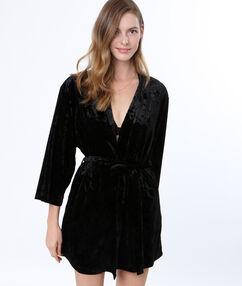 Déshabillé kimono en velours noir.