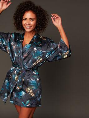 Kimono déshabillé satin imprimé bleu.