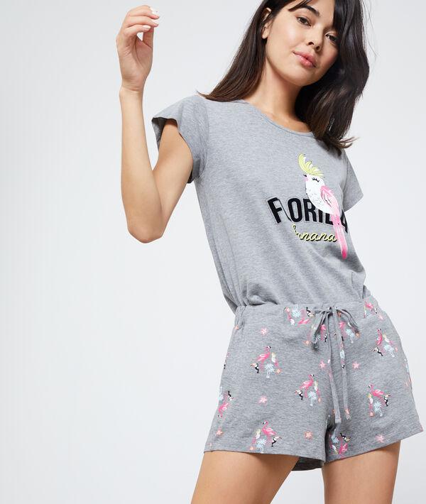 Short imprimé flamants rose et toucans