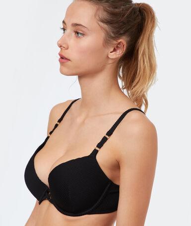 Haut de maillot de bain ampliforme texturé noir.