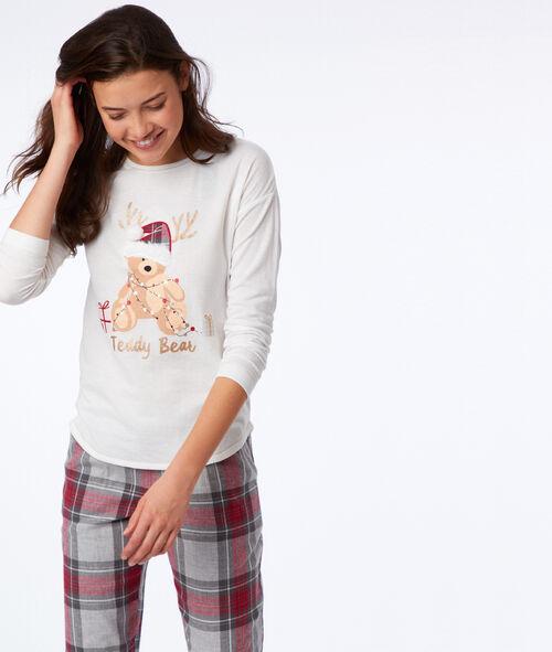 T-shirt à message détails fausse fourrure