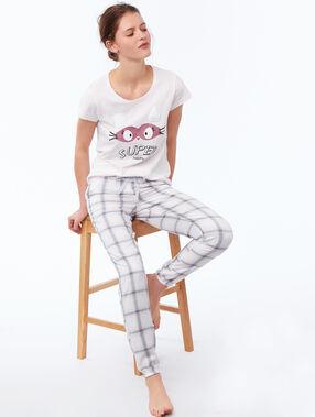 T-shirt à message oreilles en fausse fourrure rose pâle.