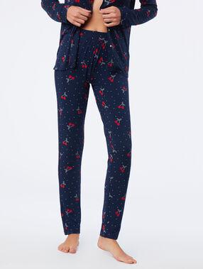 Pantalon de pyjama imprimé cerise bleu nuit.