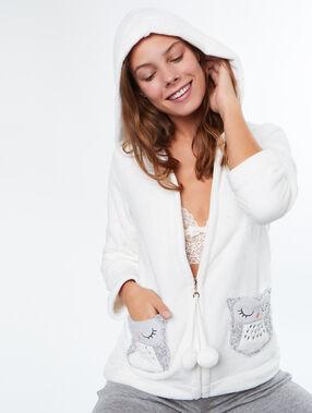 Veste  doudou chouette blanc.