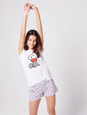 T-shirt imprimé snoopy ecru.