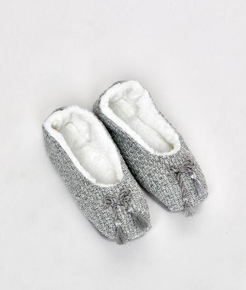 Chaussons souples fourrés façon tricot